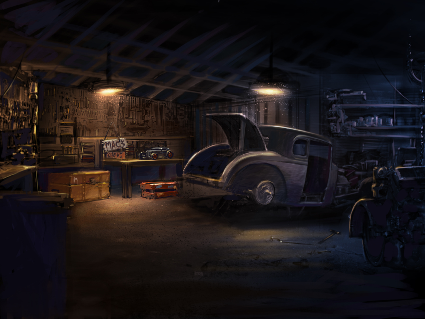 Background painting masters of chicken scratch for Garage auto legue langueux